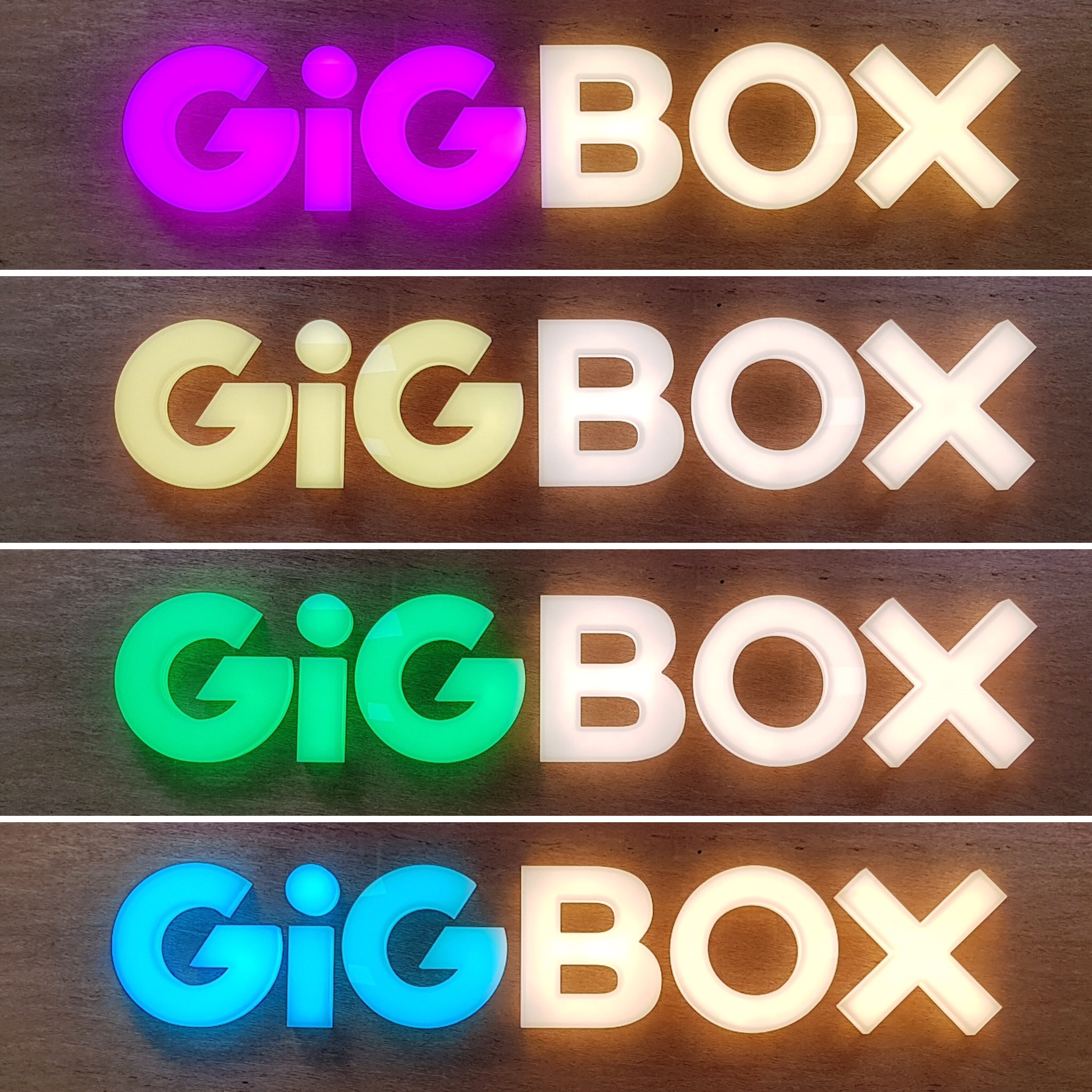 GIGBOX LED colour changing letters