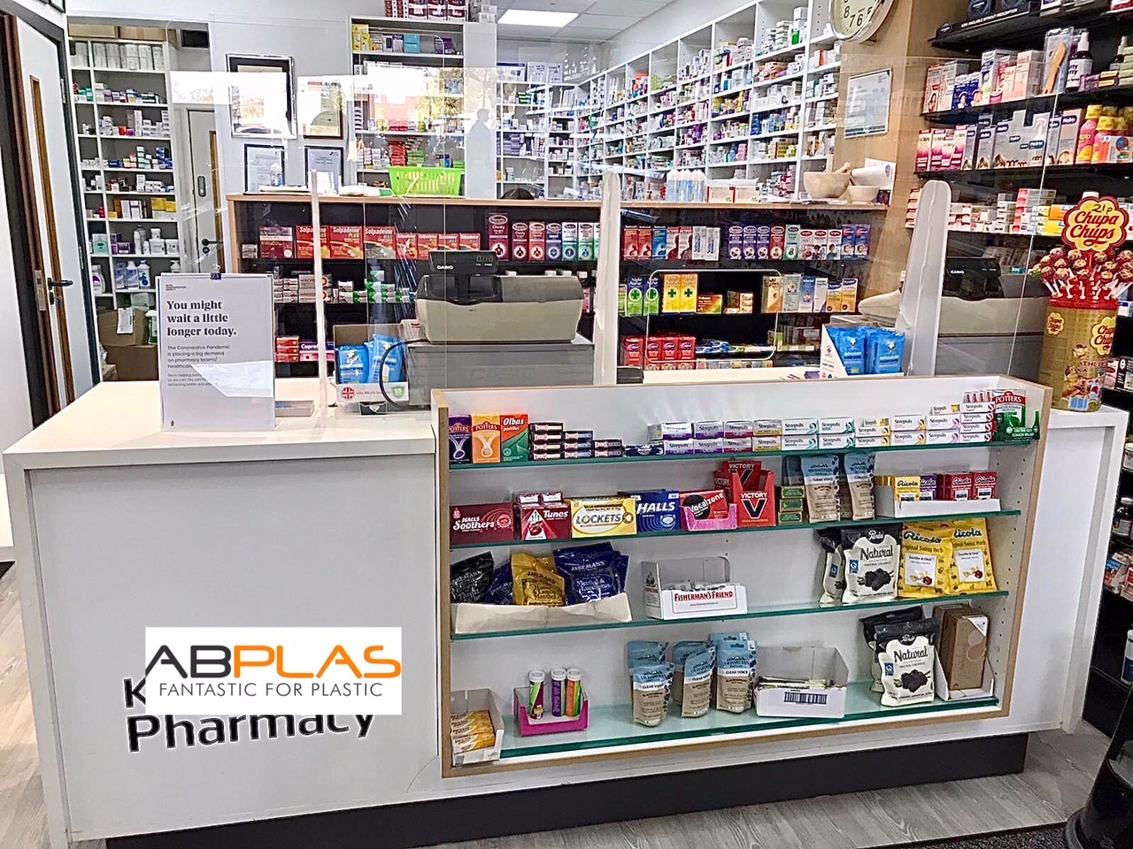 Our sneeze guards in place at Kanset Pharmacy